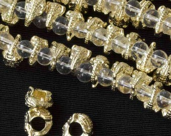 """Antique Gold Tibetan Style 11x6mm Large Hole Lizard Pewter Beads (8"""" strand)"""