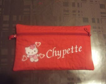 Red kitten embroidered pouch