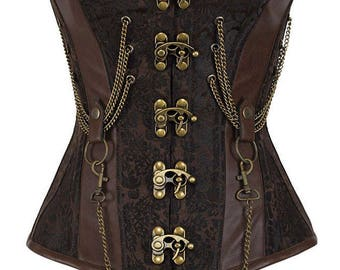 Steampunk Brocade Pattern Corset with Chains