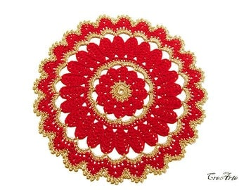 Crochet Christmas doily, Gold and Red Christmas doily, Centrino Natale