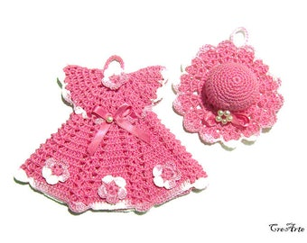 Pink crochet dress potholder and little hat, presina vestitino e cappellino rosa all'uncinetto