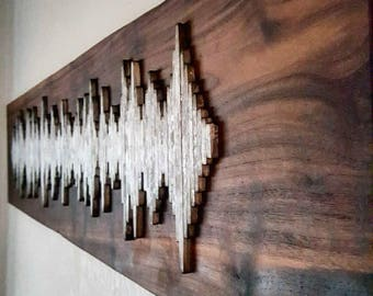 Custom Soundwave Wall Art - Live Edge Walnut Wall Art - Unique Gift Idea - Anniversary Gift  - Hospitality Art