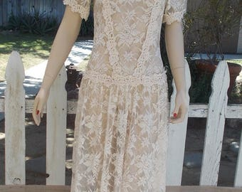 On Sale Vintage 1990's Handmade Women's Off White Floral Lace Mother Of the Bride Cottage Chic Drop Waist Wedding Dress