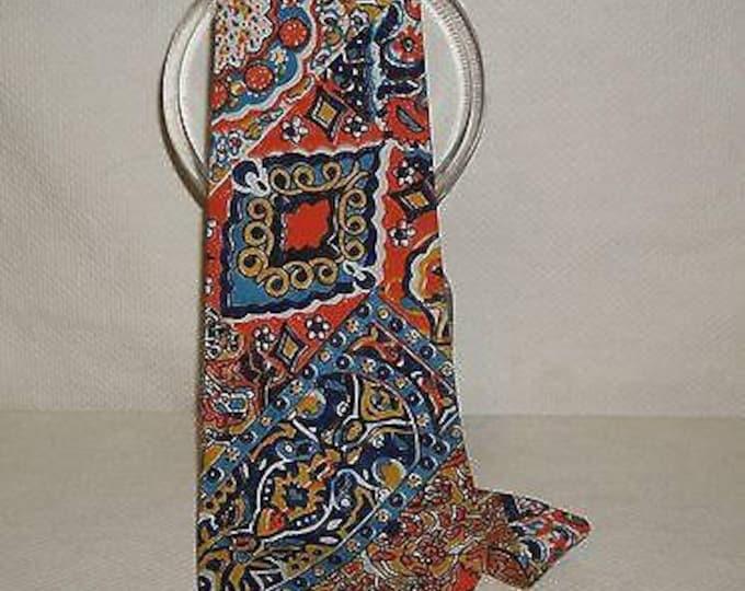 "Vintage 60s Disco Hippie ""Batek"" Batik Flower Power Paisley Psychedelic Orange Blue Cotton Casual Wide Mens Necktie Neck Tie"