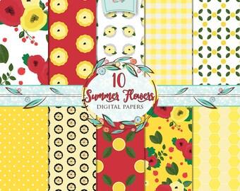 Summer Flowers Digital Paper, Floral Patterned Paper, Flowers Paper, Floral Digital Paper, Floral Paper Set, Summer Patterns, Floral Pattern