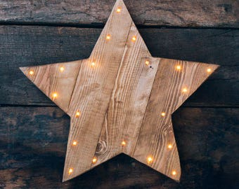 Rustic wooden light up LED Star. Battery operated