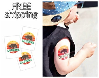 Set of 3 temporary tattoos «California». Kids body stickers with Cali lettering and grizzly bear. Playdate and party bag supply. TT209