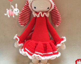 Christie the Rabbit / Christmas/ Valentine's day Bunny /by Lalylala pattern / Crochet Doll / Handmade Amigurumi / Amigurumi Toy