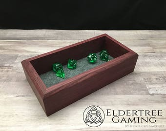 Premium Dice Tray - Personal Sized - Purple Heart with Felt or Leather Rolling Surface - Eldertree Gaming