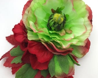 Handmade Green & Red Ranunculus Hair Flower Clip