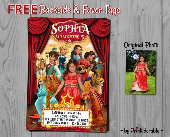 Elena of Avalor Invitation - Elena Birthday Invite - Avalor Printables, Fully Customizable - Free Backside and Favor Tags