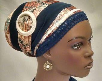 Stylish silky sinar tichel with decorative slider, tichels, head scarves, chemo scarves, hair snoods