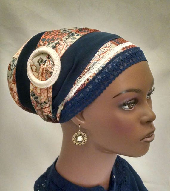 Stylish silky sinar tichel with decorative slider, tichels, head scarves, chemo scarves, hair snoods