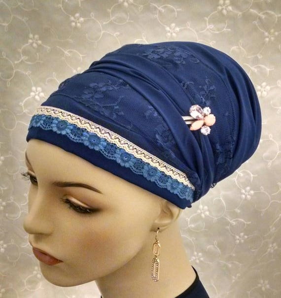 Rich blue lacey sinar tichel, tichels, head scarves, Jewish head covering, hair snood, hair Accessories