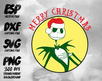 Jack The Nightmare Before Christmas Clipart , SVG Cutting , ESP Vectors files , T shirt , iron on , sticker ,Personal Use