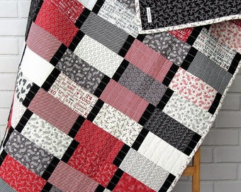 UGA Quilt - Alabama Quilt - Louisville Quilt - Red Black White Quilt