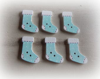 6 boot Christmas themed wooden buttons 30 * 21 mm