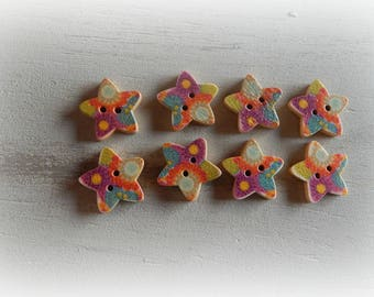 8 buttons form star multicolor wooden 2 hole 18 mm