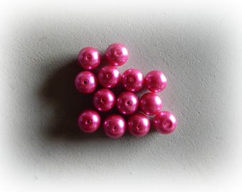 10 round glass pearls, pink fuchsia-10 mm
