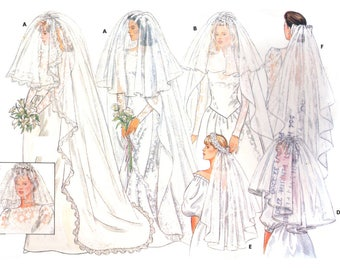 80s Butterick 4649 Wedding, Bridal Veils or Headpieces with Length and Style Variations Uncut, Factory Folded Sewing Pattern One Size