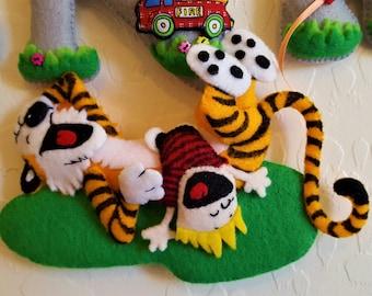 Calvin & Hobbes Nursery decor-Calvin and Hobbes Felt Name Banner-Tiger Felt Wall Letters-Child or Baby Nursery Decor-Baby shower gift