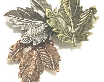 Vintage Maple Leaf Brooch, Gold Silver Plated and Bronze, Attractive Three Coloured Maple Leaves Interwoven, Jacket Decor, Friendship Gift