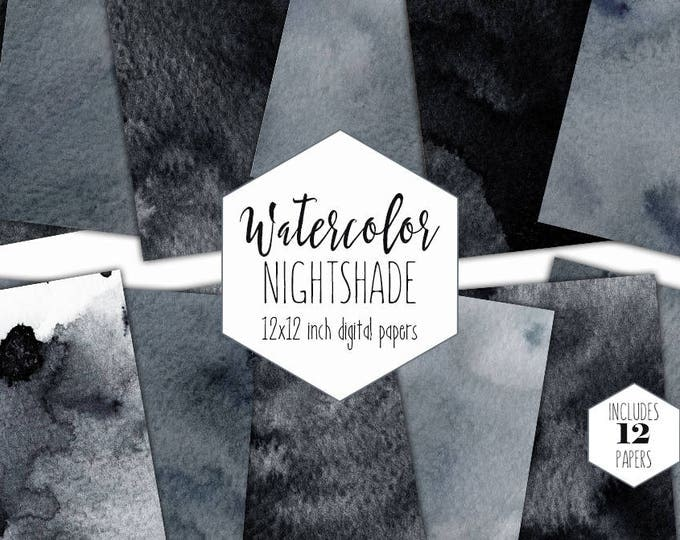 GRAY & BLACK WATERCOLOR Digital Paper Pack Commercial Use Dark Backgrounds Modern Scrapbook Papers Real Watercolour Wash Textures Clipart