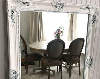 Distressed Bathroom Vanity, Shabby Chic Wall Mirror, White and White Mirror, Baroque Mirror, Nursery Mirror, Leaning Mirror, Wedding Decor