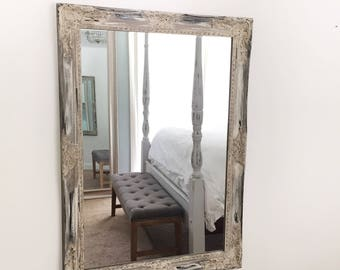 Distressed Salon Mirror, Large Wall Hanging, Leaning Mirror, Antique White  Mirror, Farmhouse