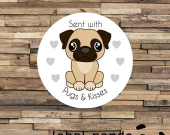 Pug Mail Sticker, For Happy Post and Mail, Pugs and Kisses, Pug Stickers, Parcels, Letters and Envelopes Seals, Gift Wrapping, Happy Post,