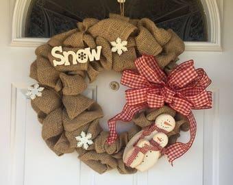 Seasonal wreath. Winter snowman, rustic barlap. Snowman plaid wreath.