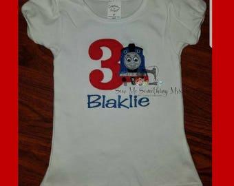 Thomas the Train Birthday Shirt. Embroidery. Girl Birthday. Boy Birthday.
