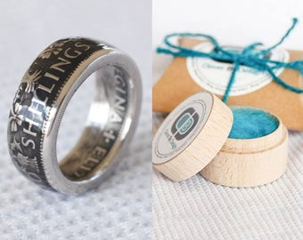 british coin ring - florin - two shillings QE- handmade - gift for