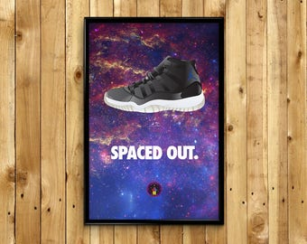 """Air Jordan 11 XI Space Jam """"Spaced Out"""" Sneaker Poster"""