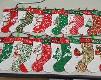 Advent Calendar Stocking Garland - 2017 Design