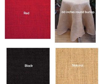 Round Jute Burlap Table Cover Overlay finished edges Skirt - 60 inches - Choose Colors