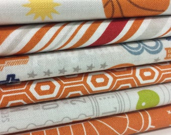 Sports Day 1/2 Yard Fabric Bundle - Game Day Quilt Fabric - Riley Blake Designs - 6 pieces