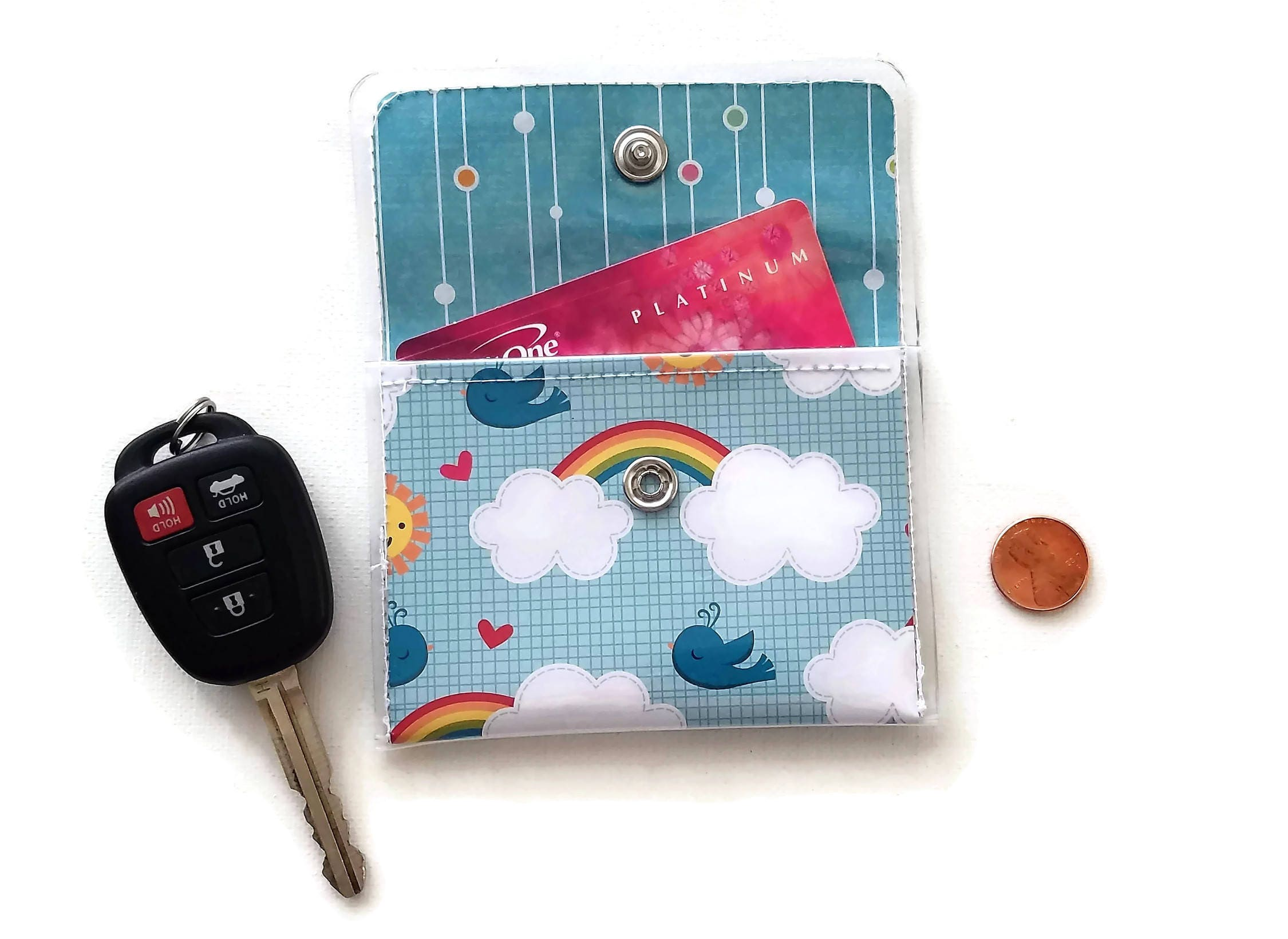 rainbow wallet cash card vinyl bluebird walla wallat business