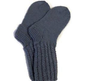 Hand knitted socks Handmade socks Wool socks Warm socks Socks for women Socks for men Bluish gray socks