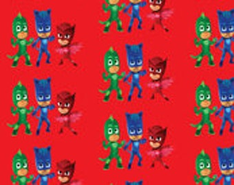 PJ Masks Fabric by the Yard and Half Yard Red Background