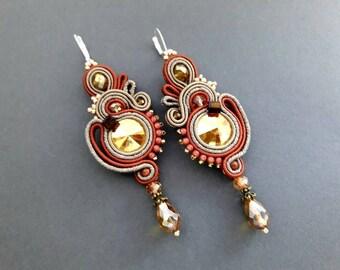 EARRINGS CHANDELIERS Soutache embroidery handmade jewelry