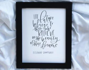 Eleanor Roosevelt | handmade print | quote print | art print