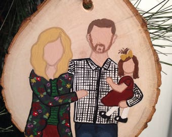Hand painted family portrait Christmas ornament. When you order, make sure you send a picture you want painted and the name for the back!!!!