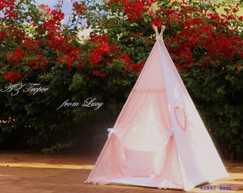 White/Pink  Lace Teepee, Adult/Kids Teepee,Play Tent, Play House, Tipi, Room Decor