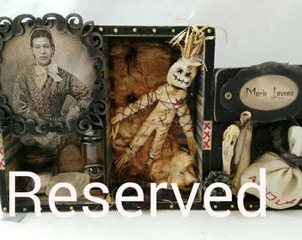 Marie Laveau-art box-shadow box-voodoo-new orleans-witchcraft-witch-assemblage-hoodoo-queen-cabinet-decoration-original gift-grungy
