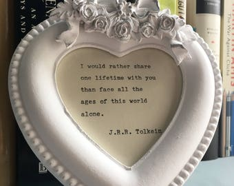 Vintage, distressed, French ornate heart shaped picture frame to include a hand-typed quote of your choice. Mother's Day birthday wedding