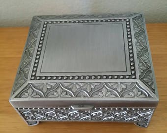 Vintage Nickel/Art Nouveau Patterned/Jewelry Box with Velvet Lining