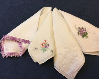Bridesmaid Gift Ideas LOT of 4 PREMIUM Vintage Hankies Lilac Violet Purple Bridal Party Gifts Wedding Handkerchiefs Handkerchief Bridesmaids