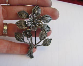 Thin Filigree Flower and Leaves Pin or Brooch -Sterling Silver