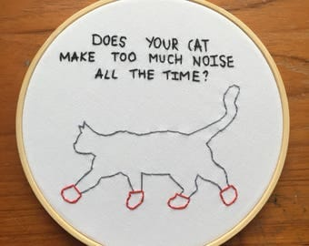 Its always sunny in Philadelphia kitten mittens Charlie Kelly quote embroidery hoop - embroidered wall art